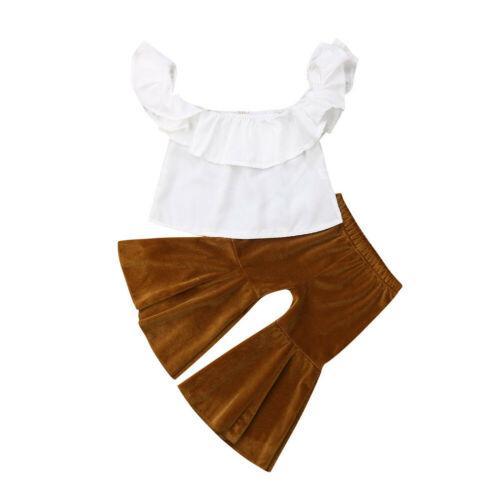 Дети девочка одежда мода летняя девушка Shoulderless белые топы + клеш Брюки клеш 2шт наряды девушка Одежда 1-5Y фото
