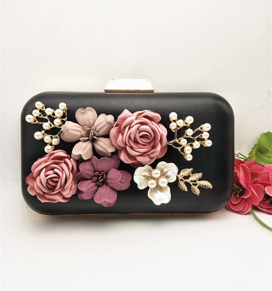 women flower evening bag floral metal frame chain day clutch girl mini shoulder messenger handbag party wedding bride purse bag (486396566) photo