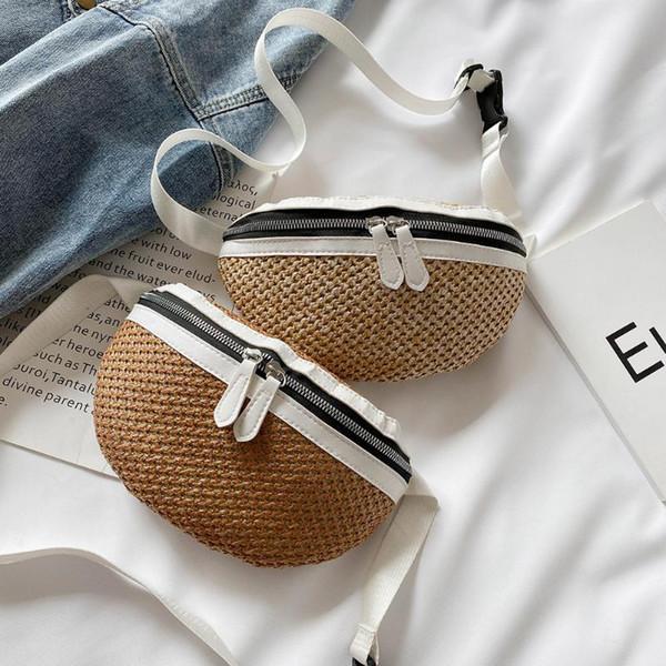 straw women waist pack bag belt female handmade rattan design summer beach bags travel girl chest pack purses (533900520) photo