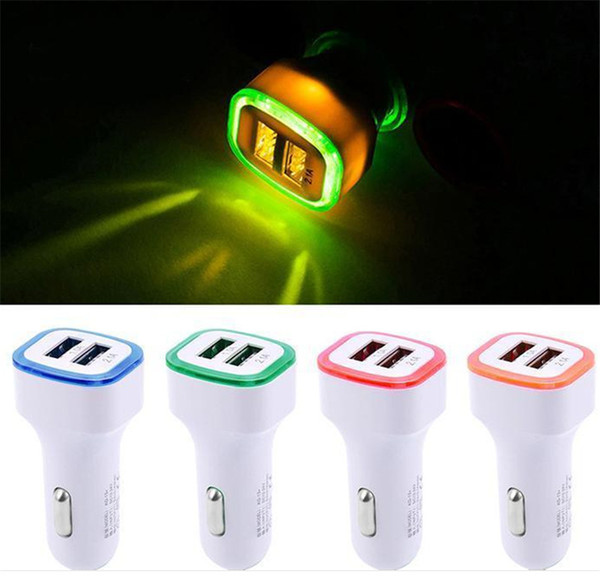 5v 2 1a dual u b port  led light car charger adapter univer al charing adapter for cell phone