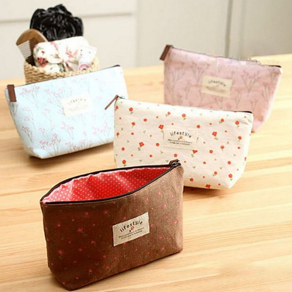 fashion girl's cosmetic bag women travel min bag toiletry make up pouch purse pastoral style pencil case (482389529) photo