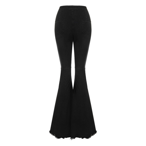 women's bodycon high waist denim flared pants jeans women wide leg pants vintage stretch horn black jeans for ladies