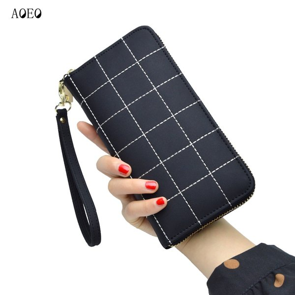 aoeo plaid ladies wallet for phone with coin purses holders wristlet large capacity womens purses and wallets girls female purse (484892819) photo