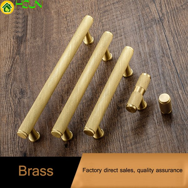 Gold knurled textured imple kitchen cabinet knob and handle drawer pull bedroom knob bra t bar cabinet hardware
