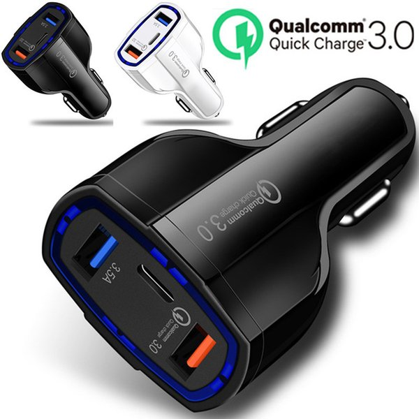 Fa t quick charging car charger 3 port  type c 35w 7a quick charger car charger  for iphone 7 8 x xr  am ung  8  9 htc android phone