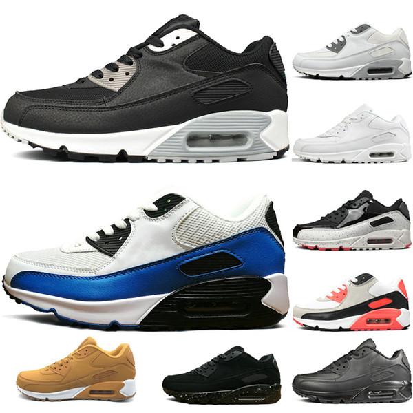Nike air max 90 shoes Высокое качество кроссовки мужские женские классические тройные чер