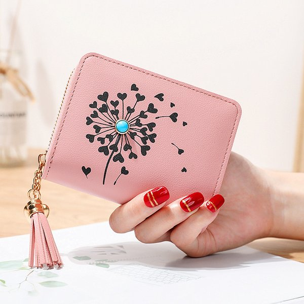 heart shaped tassel women wallets small leather women purse ladies card bag for 2019 summer female purse money clip wallet (513255705) photo
