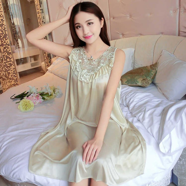 Oversize 4XL Champagne Women Satin Silk Lace Wedding Sling Dress Sleepwear Lingerie Home Nightdress Nightgown Chemise Bride