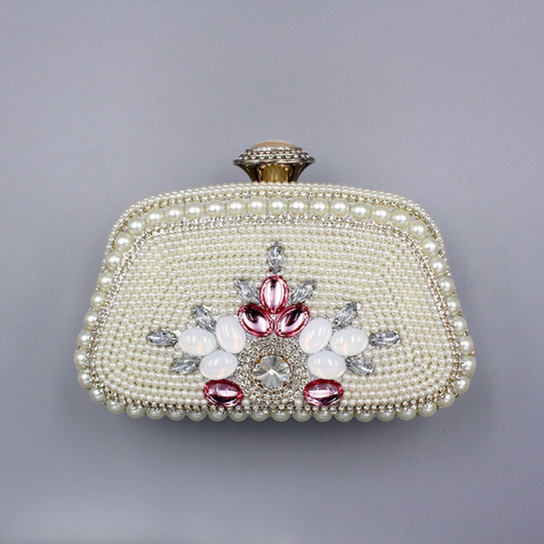 ladies solid color pearl beaded evening bag for party female flower multifunctional lock small bag for wedding girl clutch purse (520523324) photo