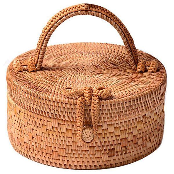rattan bag for women, fashion handmade wicker woven purse round rattan bag bamboo for summer beach sea vacation best (546652218) photo