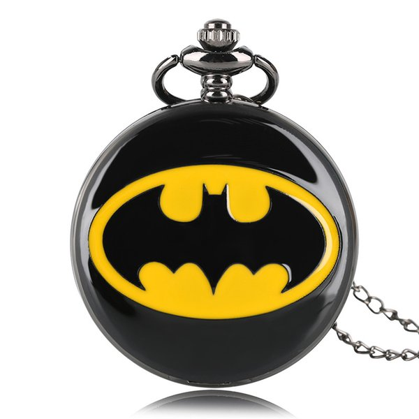 Супергерой черный Бэтмен дизайн кварцевые карманные часы ожерелье цепь повседне