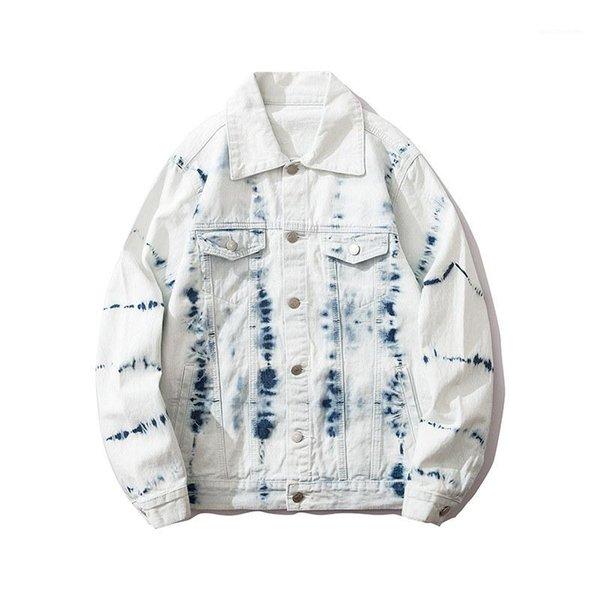 Coat Male Lapel Neck Clothing Splash Ink Tie Dye Print Denim Jacket Mens Fashion Street Style Casual