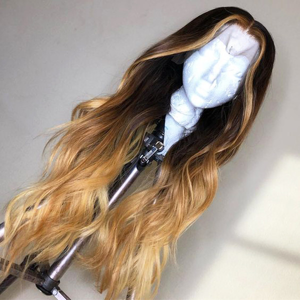 Ombre honey blonde highlight 100 human hair lace front wig for black women wavy brazilian virgin hair 13 4 lace frontal wig pre plucked