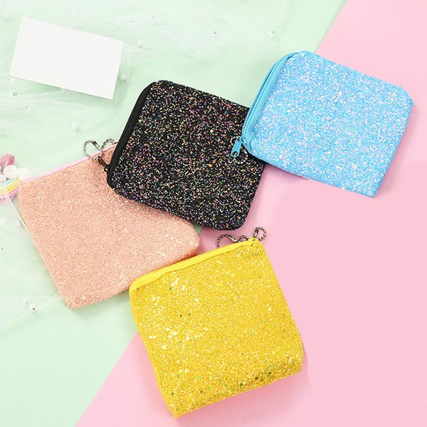 fashion sequins coin purse mini wallet girl glittering purse women pu leather handbag party zipper clutch bag earphone coin bag (511485597) photo