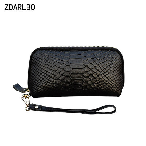 genuine leather female make up bag serpentine women cosmetic bag first layer cowhide toiletry bags mobile phone storage purse (483380291) photo