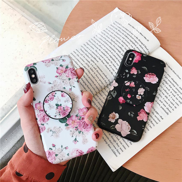 New de ign flower marble pattern phone ca e for iphone x  max xr x 6 6  7 8 plu  with bracket