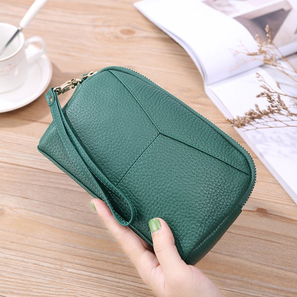 wallet girl genuine leather korean fashion mobile phone bag zipper lady with pocket purse (513252543) photo