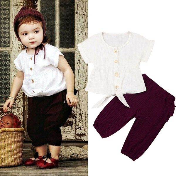1-6y infant newborn baby girls clothing set toddler kids baby girl retro  t-shirt ruffle pants outfits clothes