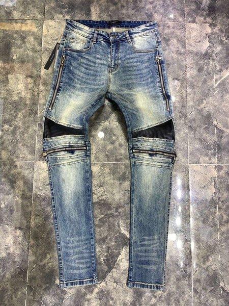 Mens Designers Ripped Biker Jeans US Size 28~42 Slim Fit Motorcycle Biker Denim For Men Fashion Designer Hip Hop Mens Jeans Good Quality