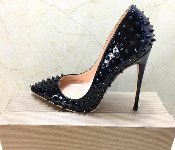 2019 бесплатная доставка мода женщины девушки черные шипы лакированная кожа Poined пальцы на высоких каблуках туфли на шпильках туфли на каблуках насосы 12 см 10 см фото
