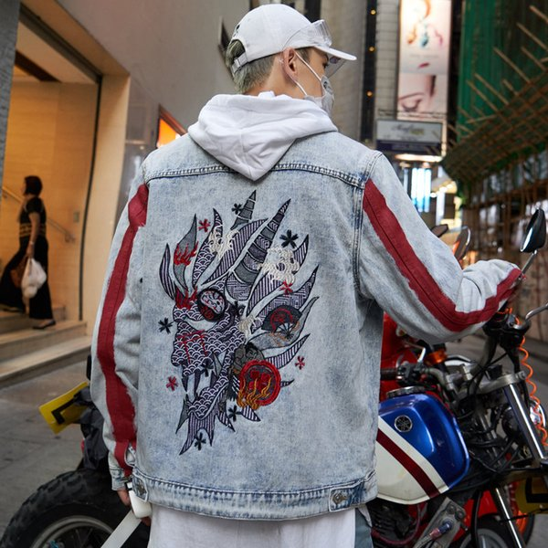 Brand Harajuku Embroidery Dragon Jacket Jeans Streetwear Hip Hop Men Vintage Washed Denim Jacket Autumn Red Striped Denim Jackets