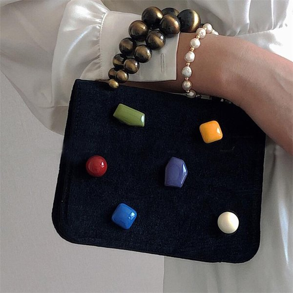 women handbags 2020 women bags vintage velvet clutch purse shoulder bag cute candy beads crossbody bag for girl purse (526443291) photo