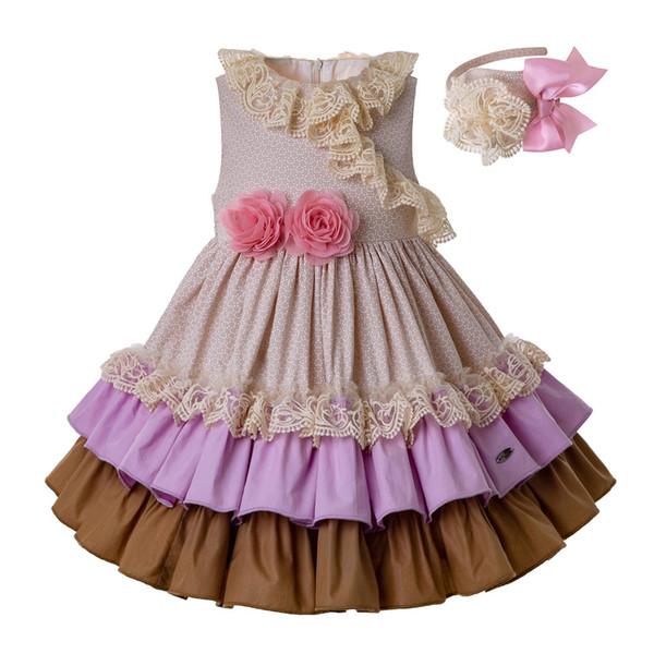 Pettigirl бежевые платья для девочек с розовым цветком девушки одеваются на свадьбу летняя детская дизайнерская одежда для девочек G-DMGD201-C136