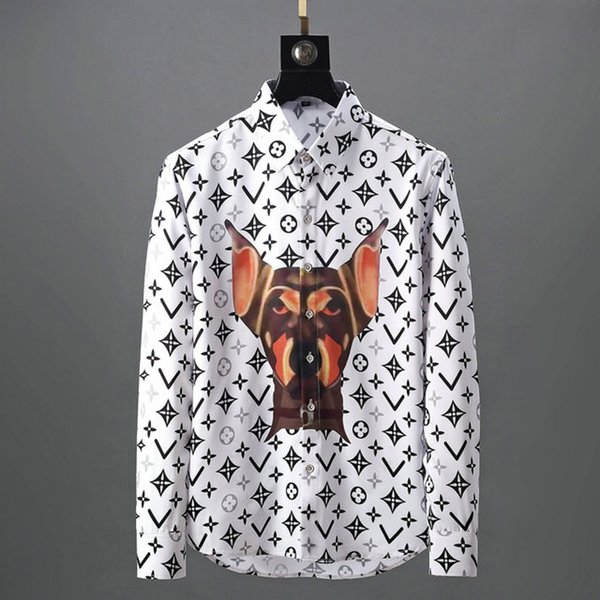 Brand Мужского дизайнерских рубашек с длинным рукавом Firmate рубашка платья вскользь роскошной сорочкой клетчатой рубашкой Homme кнопка Up Tops 013 фото