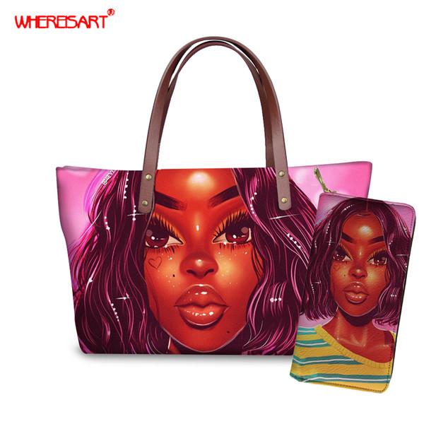 whereisart woman bag set 2019 female purse and handbag two-piece shoulder bag tote pu leather melanin poppin messenger purse (496328597) photo