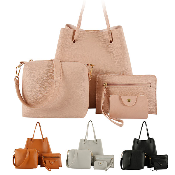 4pcs woman bag set fashion female purse and handbag four-piece shoulder bag tote messenger purse drop shipping (496731902) photo
