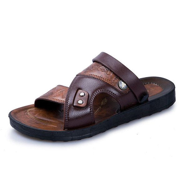onlinemall018u / Leather Men's Sandals Fashion Leather Male Sandals Summer Men Shoes Mens Beach Sandals 2019 Men's Sandles