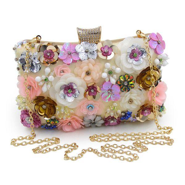 donne frizioni colorful flower borsa da sera paillettes clutch purse (526182712) photo