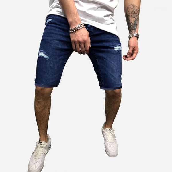 Jeans with Hole Summer Casual Natural Color Mens Shorts Mens Clothing Mens Shorts Designer Washed Knee Length