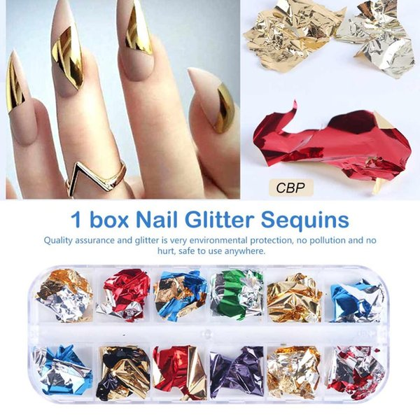 12 grid glitter gel nai aluminum flakes nail glitter powder irregular mirror chrome pigment foil shredded paper manicure decor (508278811) photo