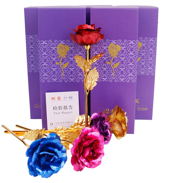 100pc  colorful 24k gold foil flower  flore  artifical  imulation plated ro e flower  with box for valentine  day wedding decoracion