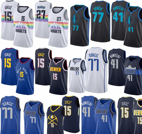New 15 Jokic 27 Jamal Murray 77 Doncic 41 Dirk Nowitzki 1 D'Angelo Russell City version 100% Stitched jerseys