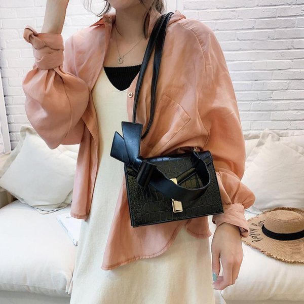 shoulder-bag women bowknot pu leather handbag lady stone pattern hasp shoulder bags crossbody bag for women girl purse bolsos (523985205) photo