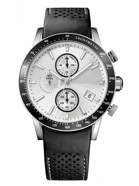 Новые мужские часы 1513403 черный пинхол кожаный ремешок ленты циферблат хронограф для мужчин