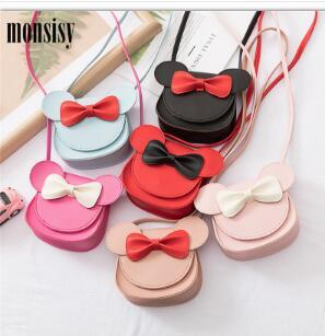 girl coin purse handbag children wallet small coin box bag cute mouse bow kid money bag baby shoulder purse (481376827) photo