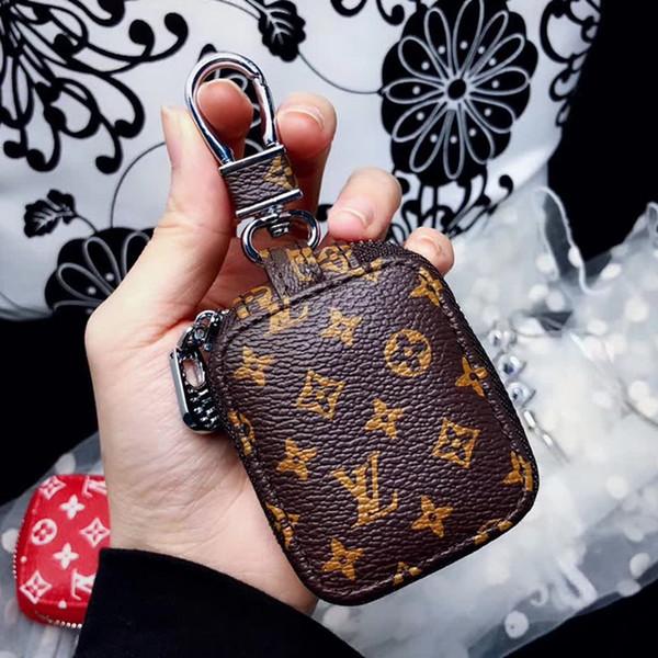 Fa hion luxury pari how airpod ca e leather protective cover hook cla p keychain anti lo t earphone ca e for apple airpod