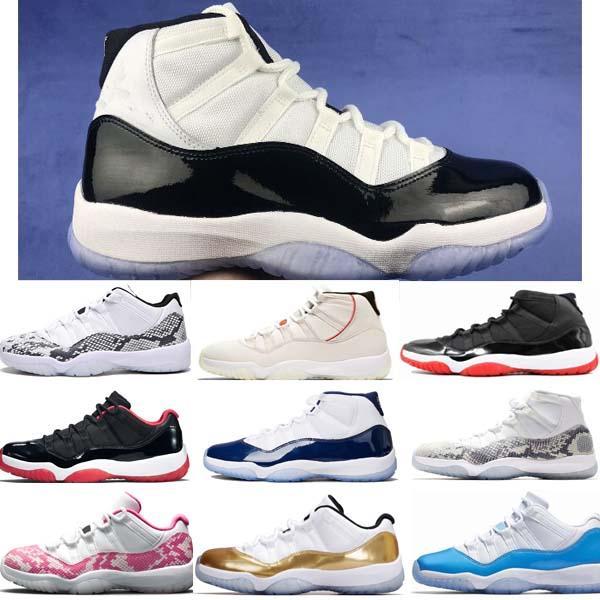 Баскетбольные кроссовки Новые 11 Низкие Темно-синие Розовые Светло-костяные Змеиная кожа Мужчины Женщины 11s Prem HC Высокие 45 Спортивные кроссовки из змеиной кожи фото