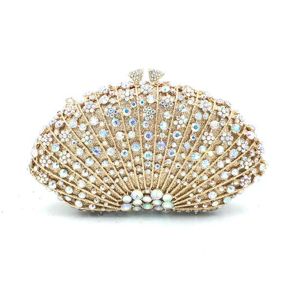 elegant women evening party beautiful handbag diamonds luxury clutches shell shape crystal purses bridal wedding party purses (551796089) photo