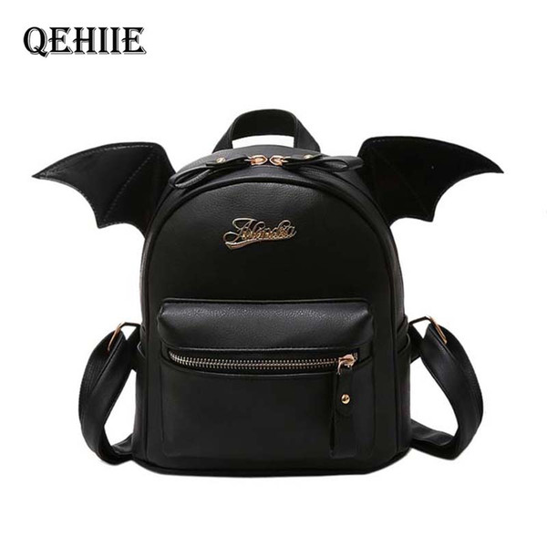 new travel women black small backpack purse little devil wings fashion mini school bags for teenage girl kawaii leather backpack (510962656) photo