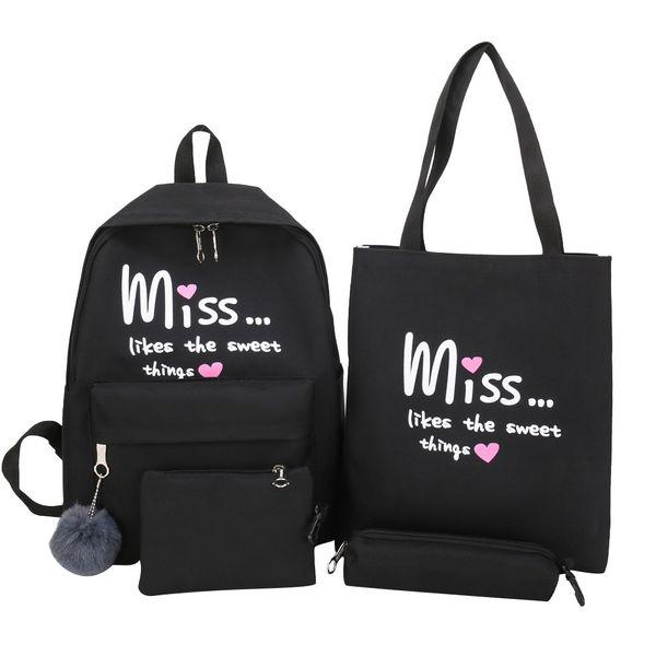 40#4 set cartoon alphabet student backpack casual large capacit travel shoulder bag backpacks handbag purses for girl women (491790147) photo