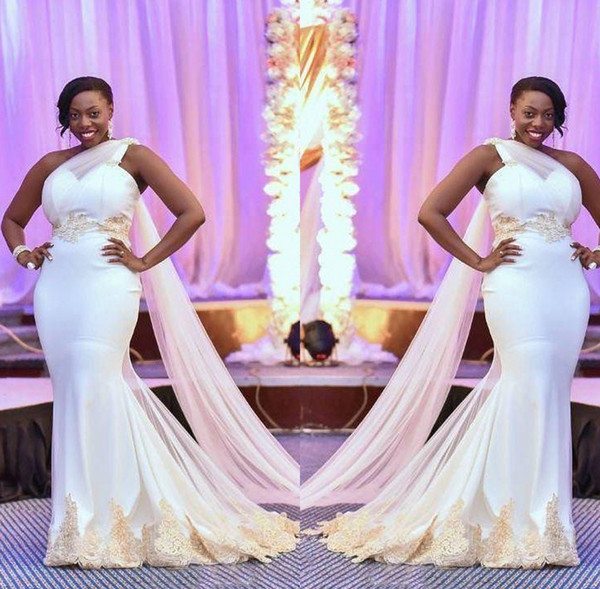 African Mermaid Wedding Dresses 2019 Plus Size One Shoulder Tulle Lace Applique Ruffles Sweep Train Wedding Bridal Gowns robes de mariée