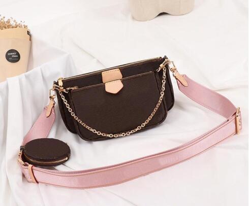 classic fashion style women handbag purse genuine leather l flower shoulder crossbody bag ladies purses 3 pcs purse (509324723) photo