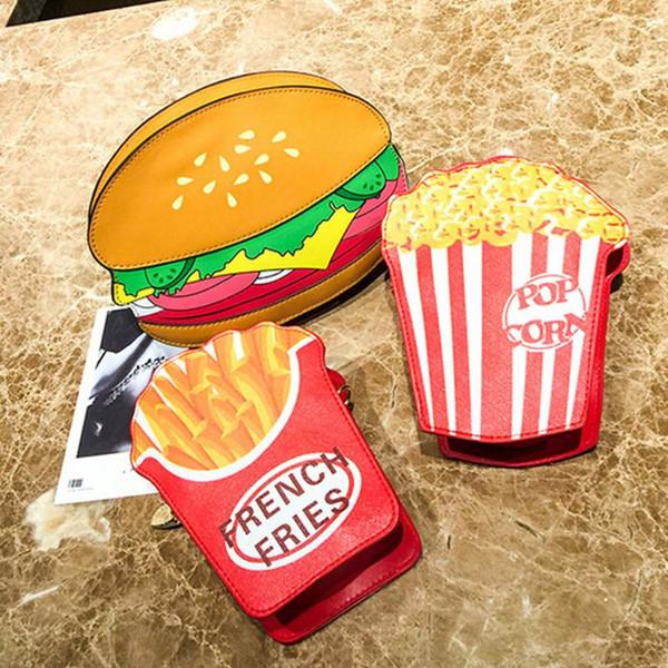 cute hamburger fries pattern women bag pu small chain clutch girl messenger crossbody shoulder bags female purse handbag #t1p (523257845) photo