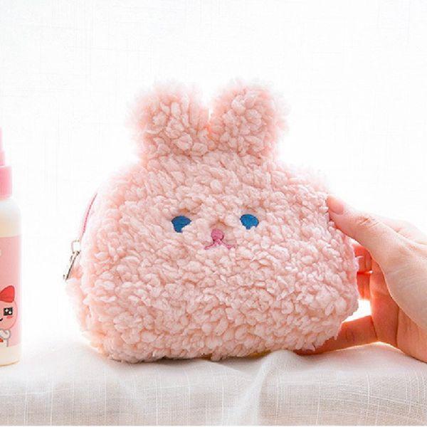 fleece plush coin purse money bag girl cute soft wallet card case cosmetic holder women make up bag (520618913) photo