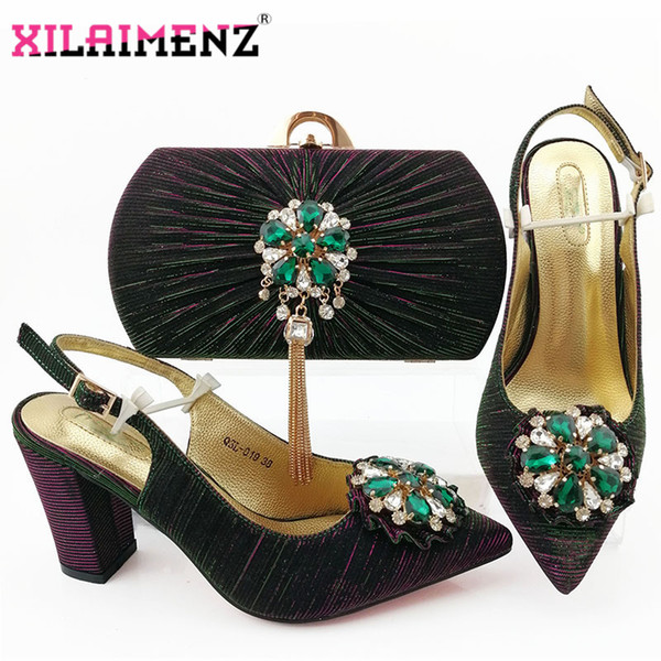 new arrival mature italian matching sandals and purse set for wedding woman african shoes and bag set with shinning crystal (550000668) photo