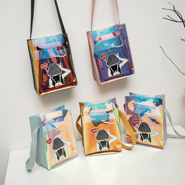 girl transparent bag spring new candy color combination shoulder messenger bag cartoon soft girl printed laser coin purse (549875690) photo